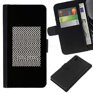 Sony Xperia Z1 / L39h / C6902 Modelo colorido cuero carpeta tirón caso cubierta piel Holster Funda protección - Tv Series Pattern Minimalist White