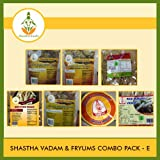 Shastha Vadam Combo Pack E (Contains 9 Items) Shastha(Vazhathandu Rice Onion-2, Chilly Onion-1, Rice Stick-1, Rice Murukku-1, Oma Murukku-1) Vadam & Appalam (# 3)-1 (T-L)