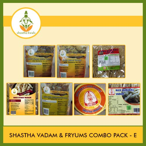 Shastha Vadam Combo Pack E (Contains 9 Items) Shastha(Vazhathandu Rice Onion-2, Chilly Onion-1, Rice Stick-1, Rice Murukku-1, Oma Murukku-1) Vadam & Appalam (# 3)-1 (T-L) by Shastha Foods