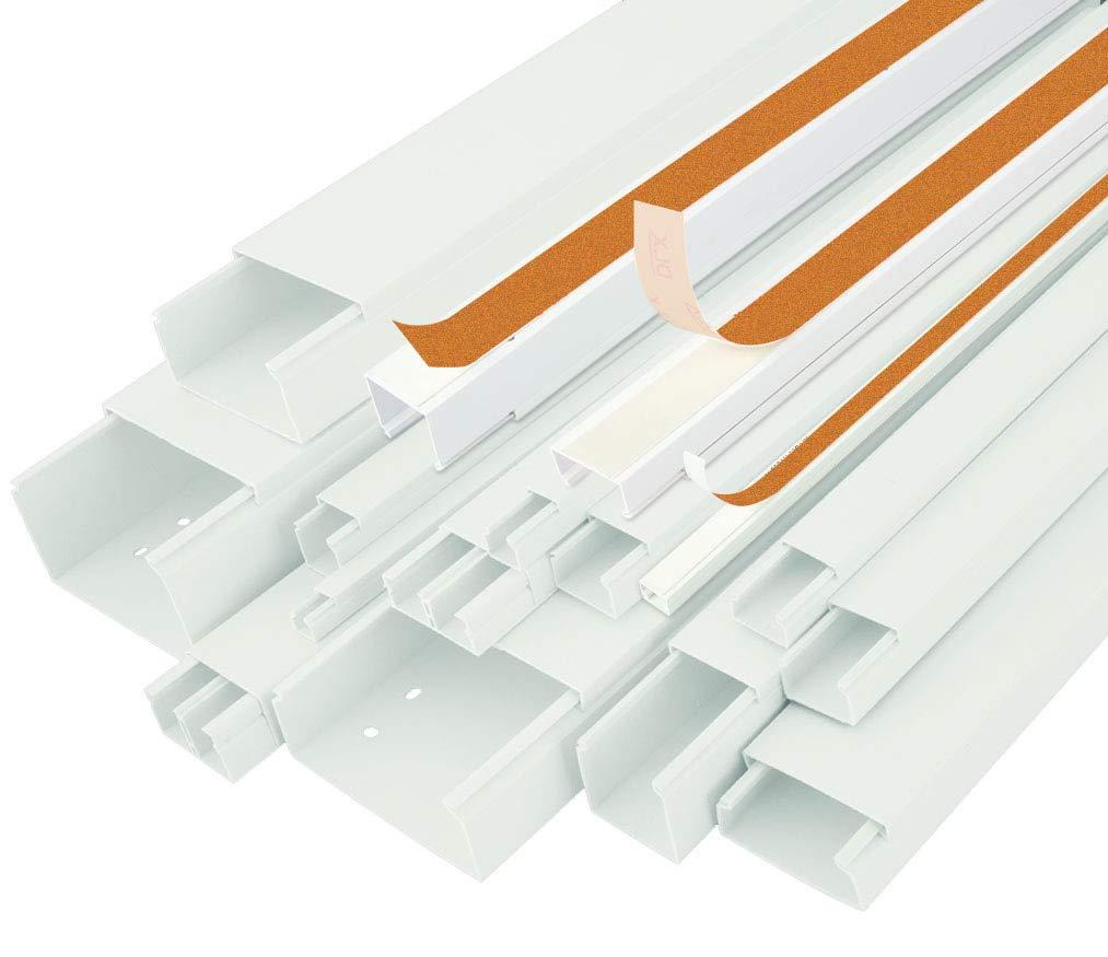StilBest Kabelkanal 2m 30 x 20mm Selbstklebend PVC Installationskanal fü r Wand und Decken Montage Allzweck Kabelleiste Weiß