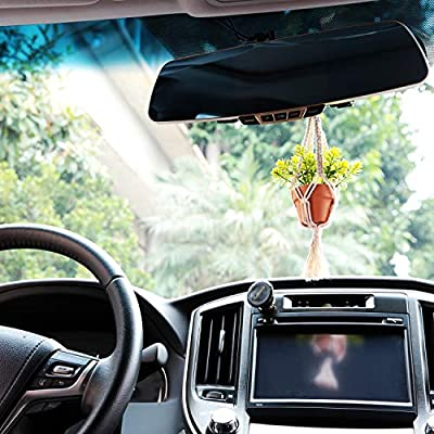 Mkono Mini Macrame Plant Car Hanging 2 Pcs Handmade Rear View Mirrior Charm Car Decorations Boho Hanging Planter with Pot and Plant for Car Home Decor Mother,s Day Party Supplies Gift,10.5-Inch,Red: Garden & Outdoor