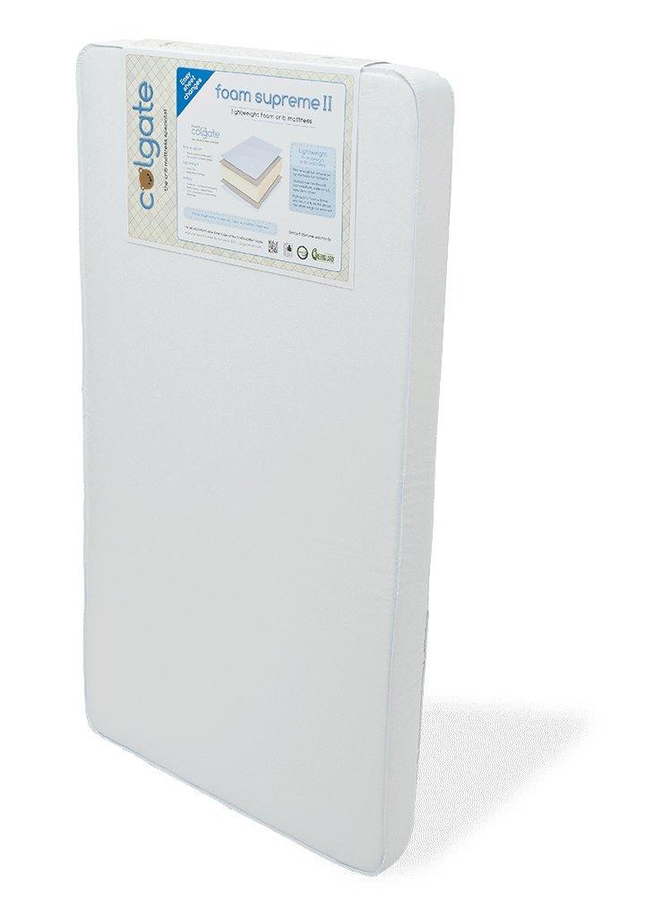 Made in the USA 51.8L x 27.5W x 5H Hypoallergenic Colgate Foam Supreme II Lightweight Foam Crib Mattress White Waterproof Cover