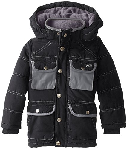 Black Boys' Bubble YMI Jacket Pocket Hooded Contrasting Pleather Little with RazqwzCU