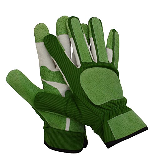Leather Work Gloves for Gardening, Puncture Resistant Protection and Reinforced Palms and Fingertips,With Elastic Knitted Cuff Garden Gloves for Men & Women,1 Pair (L, Green)