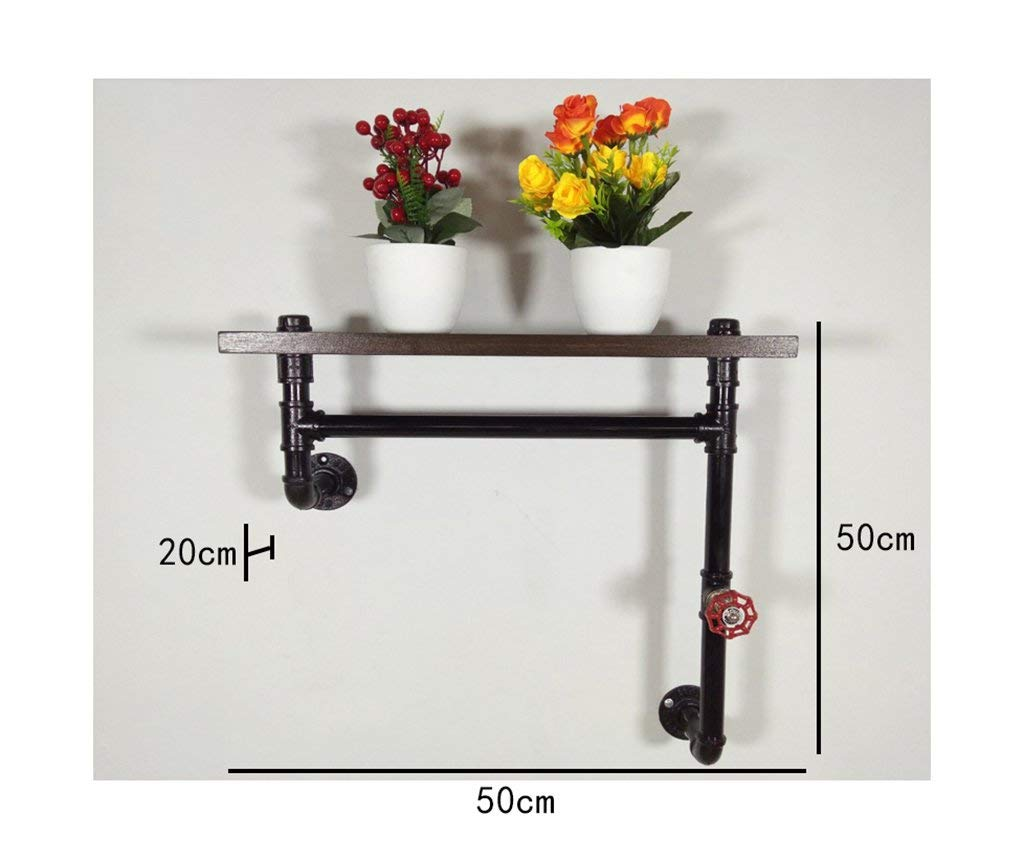 YANG Loft Retro Iron Bookcase Industrial Style Solid Wood Wall Hanging Shelves Plant Display Stand Wall Storage Rack