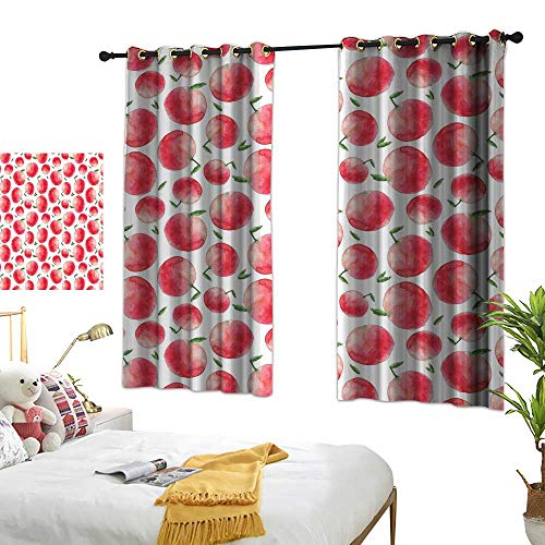 - Grey Curtains Apple,Hand Painted Watercolor Art Style Apples with Green Leaves Harvest Season,Dark Coral Green White 72