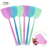 Fly Swatters Plastic Hand Swatters for Flies - Manual Swat Pest Control,Excellent Quality,Thicker & Durable Long Handle --17.5 inch,- Easy for Kids to Use (6 Pieces Set)