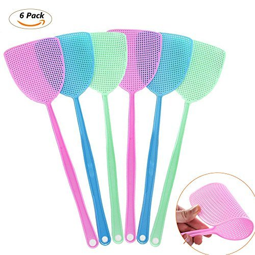 Fly Swatters Plastic Hand Swatters for Flies - Manual Swat Pest Control,Excellent Quality,Thicker & Durable Long Handle --17.5 inch,- Easy for Kids to Use (6 Pieces Set) by HoneyPeri