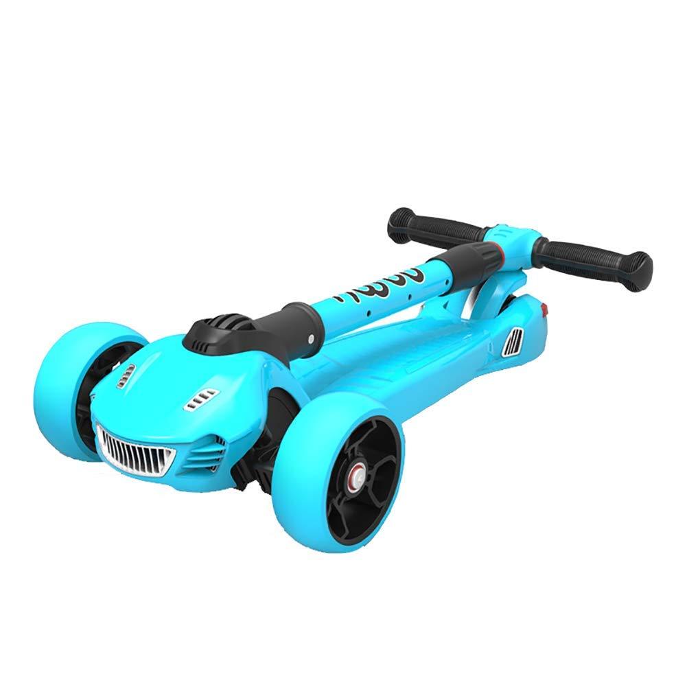 CMXIA Motorino Pieghevole per Bambini Pieghevole Regolabile in Altezza 2-12 Anni Motorino Scorrevole per Bimbi Scorrevole a Quattro Ruote con Flash ( Colore   blu )