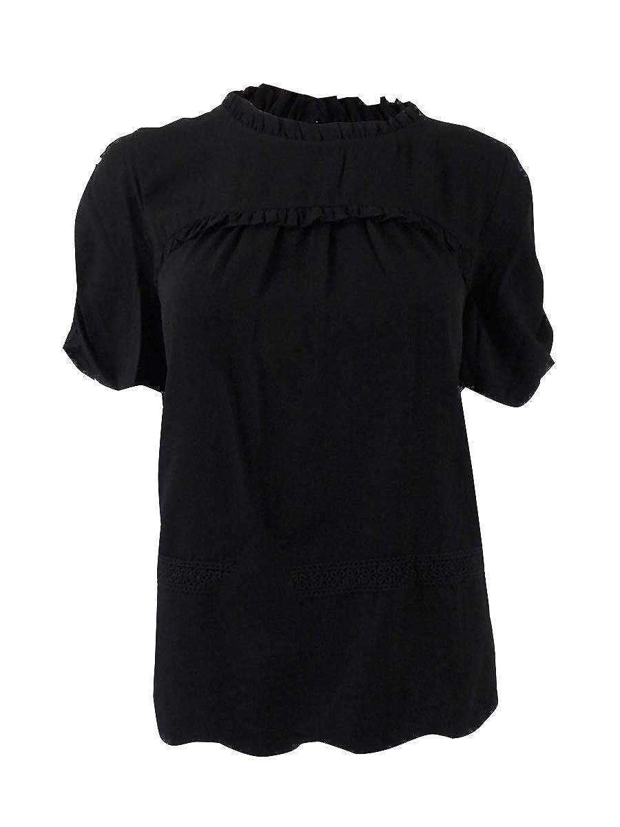 kensie Ruffled Lace-Trim Blouse