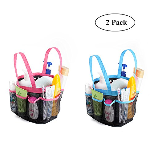 Mesh Shower Caddy Tote Bag - Portable Storage Organiser with 8 compartments Hanging Bath Toiletry Mesh Bag for Bathroom , Gym, Swimming ,travelling ( 2 Pack, Rose Red + Blue)