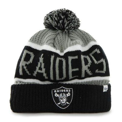 Oakland Raiders Grey Calgary Cuffed Pom Knit Beanie Hat / Cap