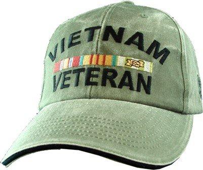 US Vietnam Veteran Logo Embroidered Hat - Green Adjustable Buckle Closure Cap