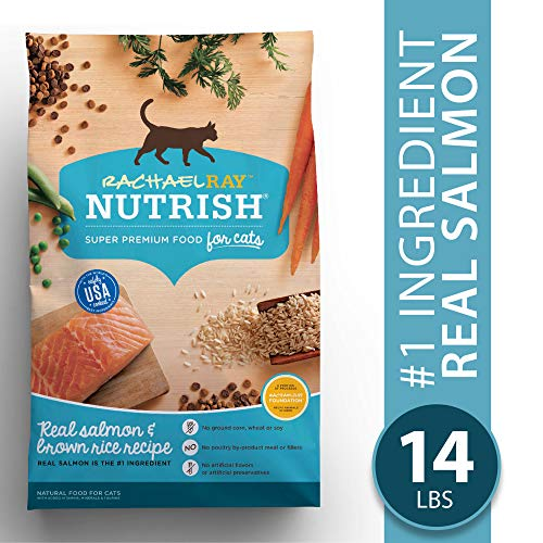 Rachael Ray Nutrish Premium Natural Dry Cat Food, Real Salmon & Brown Rice Recipe, 14 Lbs