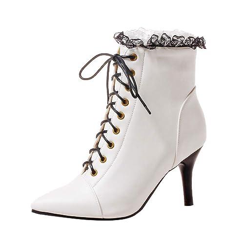 Botines Tacón Altas Aguja Cuña para Mujer Invierno Primavera PAOLIAN Zapatos Vestir Puntiagudo Fiesta Elegante Botas Bajo Cordones Tobillo Altas ...