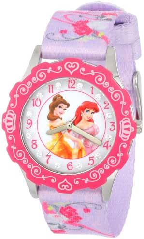 Disney Kids' W000407 Tween Princess Glitz Stainless Steel Time Teacher Watch With Printed Nylon Band