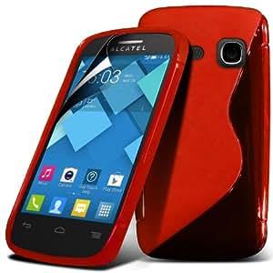 (Rojo) Alcatel One Touch C3 la Línea protectora cubierta de la caja de gel Piel y Protector de pantalla LCD de Spyrox