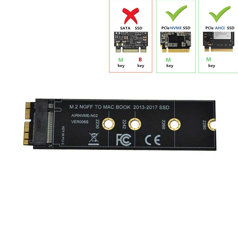 Tarjeta Adaptadora De Conversion Ssd Sensico M.2 Nvme Para Macbook Air Pro Retina (año 2013-2017), Kit Actualizado Ssd