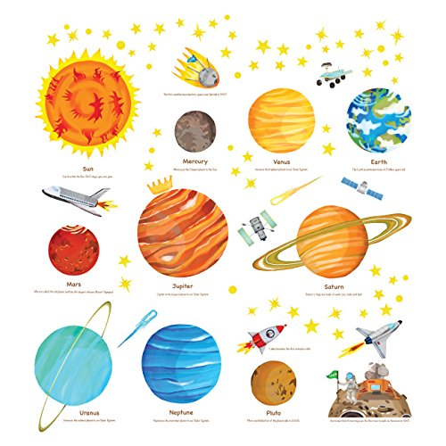 Decowall DS-8018 The Solar System Kids Wall Stickers Wall Decals Peel and Stick Removable Wall Stickers for Kids Nursery Bedroom Living Room (Small)