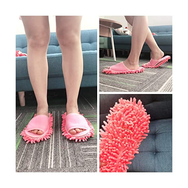 Xunlong, pantofole unisex per la pulizia del pavimento, pantofole per la pulizia della casa e della polvere, Rosso