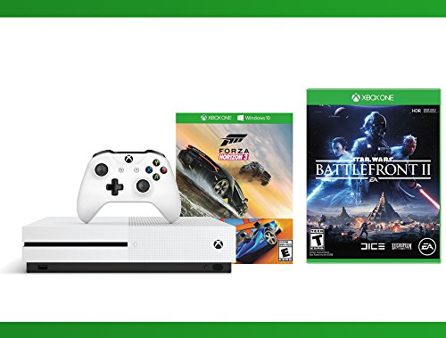 Xbox One S 500GB Console – Forza Horizon 3 Hot Wheels Console Bundle + Star Wars Battlefront II + WWE 2K16 Bundle ( 3 – Items )