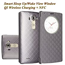 LG G4 Case, Aomax Smart Quick Circle wake up/sleep view window, Wireless Charger Qi Standard Wireless Charging receiver IC Chip Attached With NFC Function Cover For LG G4 (Silver New)