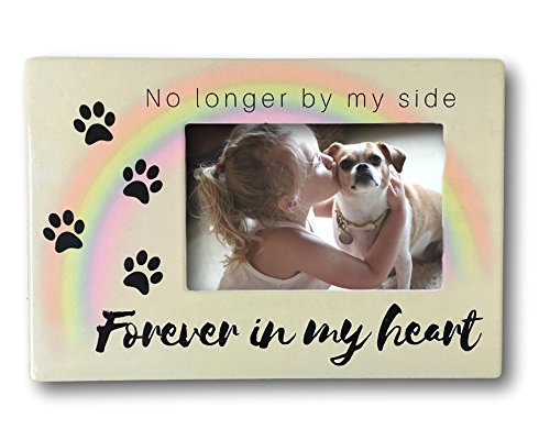 BANBERRY DESIGNS Pet Memorial Frame - No Longer By My Side Forever In My Heart - 4 x 6 Picture Frame For a Dog or a Cat