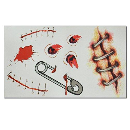 Halloween Zombie Bullet Holes Zip Scars Water Transfer Temporary Tattoos (1 (Fake Bullet Holes Halloween)