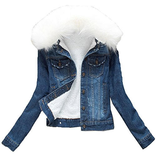 YOUMU Women White Faux Fur Fleece Denim Short Jacket Thicken Jean Sherpa Coat (Dark Blue, XL)