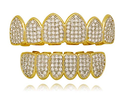 Bar Silver Iced Out Grillz - LuReen Gold Silver Two Tone Iced Out CZ Teeth Grillz Set with Molding Bars and Grillz Box (Grillz Set)