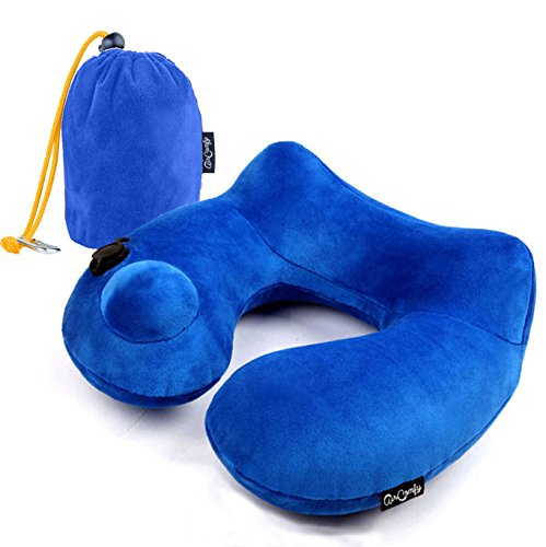Push-Button Inflatable Daydreamer Neck Pillow with Aeroplane Travel Packsack and Luggage Clip - Blue B01MRE49OC ブルー