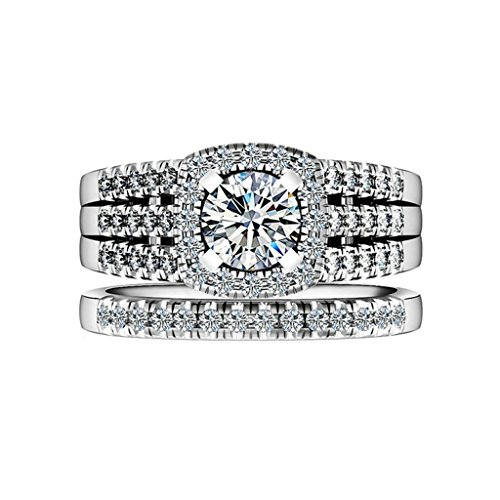 Gnzoe Jewelry, 2pcs Women Wedding Bridal Ring Set Solitaire Cubic Zirconia, Customized Ring by Gnzoe