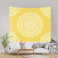"PASHOP Mandala Tapestry Hippie Bohemian Tapestry Sketched Medallion Tapestry Wall Hanging Psychedelic Tapestry India Yellow Wall Tapestry for Home Decor (59.1"" x 82.7"")"