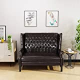 Estelle High Back Tufted Winged Brown Leather Loveseat