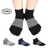 Women's Toe socks No Show Five Finger Socks Cotton Athletic Running Socks 3 Pack