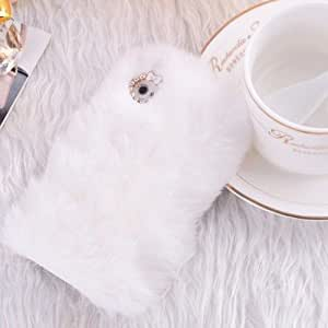 Luxury Winter Warm Soft Rabbit Fur Hair Back Case Cover for iPhone 5 5S (White)