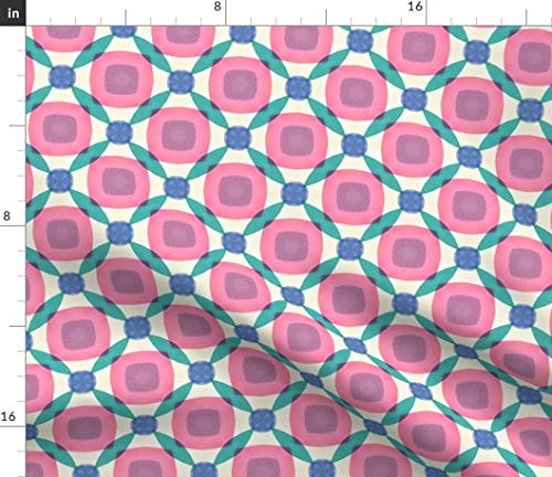 - Spoonflower Geometric Retro Mod Fabric - Watercolor Stones Geo 4 Colorful Pastel 1960S Print on Fabric by The Yard - Denim for Sewing Bottomweight Apparel Home Decor Upholstery