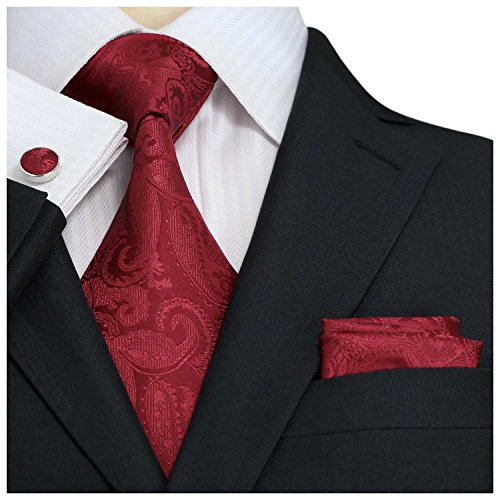 Landisun SILK Paisleys Mens SILK Tie Set: Tie+Hanky+Cufflinks 104 Red, (Red Paisley Necktie)