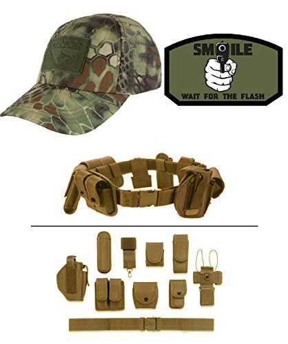 Cap Kryptek Mandrake + SMILE FOR FLASH GREEN + Tan Duty Belt (Mandrake Halloween Costume)