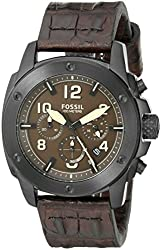 Fossil Men's FS5095 Modern Machine Chronograph Leather Watch - Dark Brown