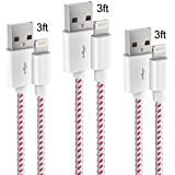 MGADFHSGT Lightning Cable 3Pack 3FT iPhone Charger Nylon Braided Charging Cable Cord Compatible with iPhone X/8/8 Plus/7/7 Plus/6/6 Plus/6s Plus/SE/iPad Air 2/iPad Pro and More (White&Red)