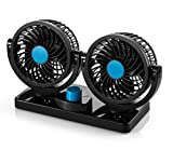 TFSeven Dual Head Car Auto Cooling Air Fan - Quickly Blow Away Hot Air Smoke Smell Bad Odors - Defrost Windshield Cool Down Summer Vehicles in Minute
