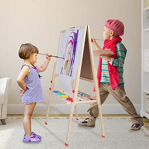 Kids Easel for Two 3 in 1 Children Easel, Childrens Paint and Drawing Artist Easel, Height Adjustable Double Sided Easel and Accessories