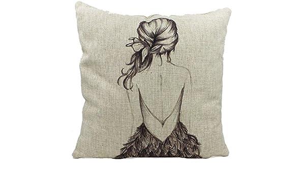 Molde cuadrado para Bromeo Cotton Linen manta diseño de chica con dorso 45,72 cm X 45,72 cm funda de almohada: Amazon.es: Hogar