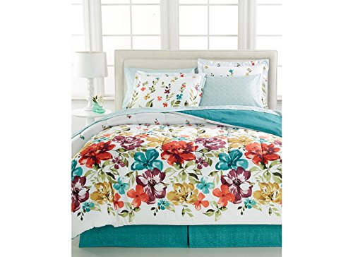 Bright Floral, Flowers, Girls Turquoise Full Comforter Set (8 Piece Bed In A Bag) + BONUS HOMEMADE WAX MELT! (Turquoise Bedding Red)