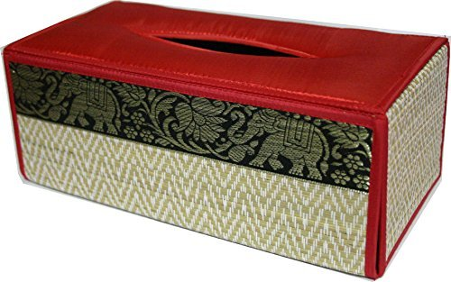 TOPMOST N-9006, Handmade Thai Woven Straw Reed Rectangular Tissue Box Cover with Silk Elephant Design 5x3.7x10.2 Inch by Topmost