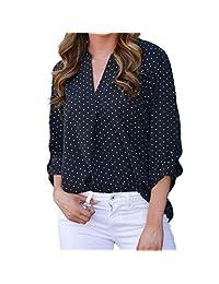 kingfansion Women Loose Button Trim Blouse Polka Dot Top Long Sleeve Tunic T-Shirt