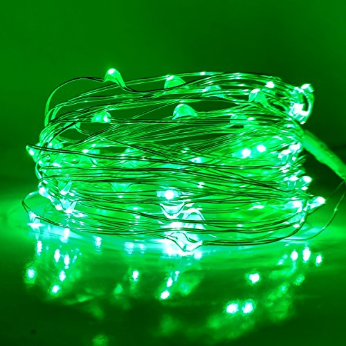 Hometown Evolution, Inc. Fairy Lights- 33 Foot Plug In 100 Micro LED on Silver Wire - Green (Lamps 100 Lights Green Wire)