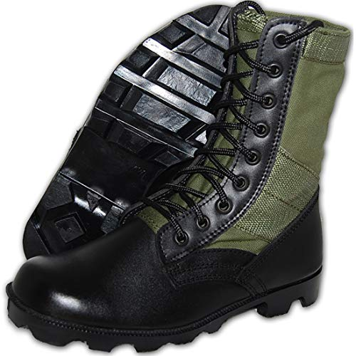 KRAZY SHOE ARTISTS Jungle Boot 8 Inch Leather Black Green Tactical Men's Combat Size 12
