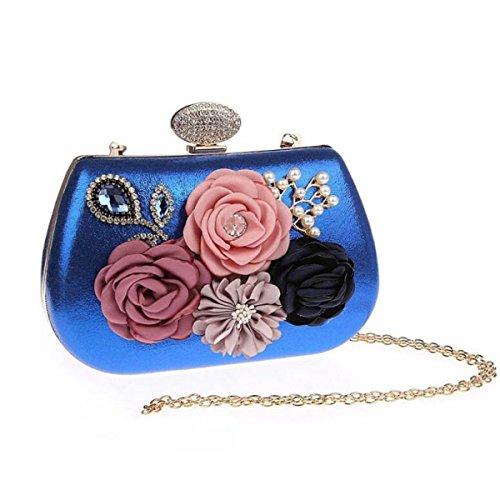 Blue Lady Sac Mariage à Fleurs Sac à Soirée De Sac De Mode à Sac Soirée Poignées Sac De Diamant Bandoulière Sac xTxrR1wf7q